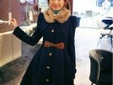 【镇厂之宝】14年春韩国女装热销 御拆毛领披肩腰带大衣 现货A0