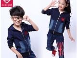 秋季新款童装 中大男女童运动两件套装 拼接童套装
