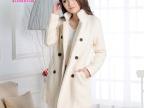 毛呢大衣女装双排扣羊毛呢子中长款外套2014新款韩版修身大码女装