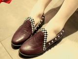 韩国原单外贸女单鞋时尚韩版低跟粗跟女鞋尖头浅口铆钉鞋2014新款