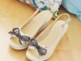 2014夏季新款坡跟鱼嘴凉鞋甜美淑女蝴蝶结高跟鞋女鞋 一件代发