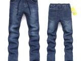 2014秋冬新款男装针织直筒软牛仔裤 男式松紧腰抽绳系带长裤子潮