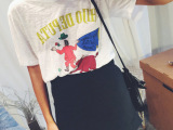 【厂家直销】 夏装可爱小犀牛卡通图片竹节纯棉短袖T 桖 女