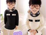 2014女童春装 童装 儿童气质双层长袖连衣裙
