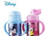 正品迪士尼儿童吸管保温杯带柄 不锈钢儿童防漏水杯儿童杯SM520