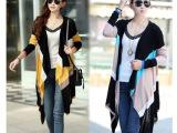 2014秋季新品宽松韩版女装中长款条纹开衫外套针织衫毛衣