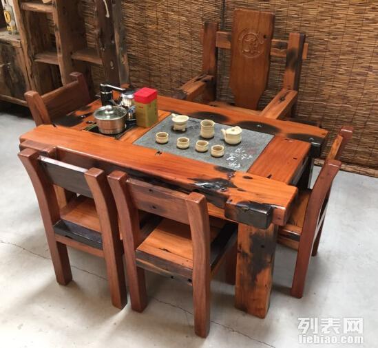徐州市老船木茶桌椅子仿古茶台实木沙发茶几餐桌办公桌家具博古架