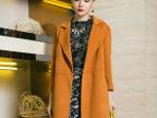 2014厂家直销 高档手工缝制羊绒大衣 无扣双口袋羊绒外套女款