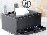 高档皮革带抽屉组合纸巾盒 抽纸盒 餐巾纸抽盒收纳盒遥控器盒批发