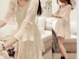 外贸女装较新款宽松复古仙女裙子森女荷叶边七分喇叭袖棉麻连衣裙
