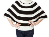 2014最新时尚条纹高领蝙蝠衫 个性保暖仿羊毛服装女装毛衣 96
