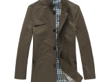 牧农(munong)男式爆款休闲风衣中长款男装夹克型风衣外套 批