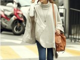 孕妇装批发韩版女装批发高领纯色斗篷时尚宽松大码毛衣 一件代发