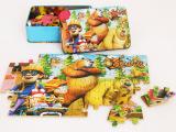铁盒装60片木制质儿童拼图拼板 早教益智积木玩具生日礼物3-4-