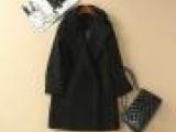 2014秋冬新款 高档西装领双排扣羊毛外套女 羊毛毛呢大衣批发Q