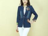 韩版中袖牛仔短外套小西装 镶钻外套女短款修身上衣