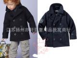 现货**!欧美童装男童冬装黑色呢子大衣棉袄风衣一件代发