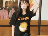 2015韩国代购咖啡猫韩版BF女装T恤 潮牌原单卡通印花短袖T恤