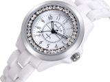 韩版品牌陶瓷镶钻女表手表 时尚女士复古果冻腕表 圆形石英表批发