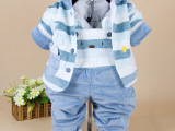 男女儿童秋季套装  婴儿棉背带裤宝宝套 条纹   童装一件代发