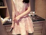 2014韩版女装公主无袖收腰网纱雪纺蓬蓬连衣裙