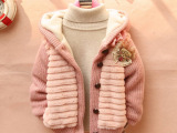 2014年春秋冬童装女童针织加厚加绒女孩毛毛衣宝宝开衫外套可代发