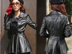 2014秋冬装新款女装 欧美双排扣风衣外套修身显瘦PU洗水皮衣外套