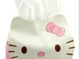 hello kitty 皮革纸巾抽 可爱KT猫纸巾盒 卡通车载皮革纸巾套