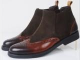 外贸软底男鞋商务正装皮鞋男高帮皮鞋雕刻花纹真皮鞋37码