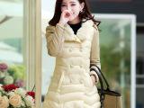 2014冬装女新款韩版中长款大码加厚女士棉衣兔毛绒连帽棉服女外套