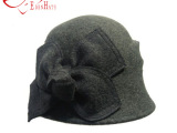 女士秋冬帽子 欧美新款圆头车双排线蝴蝶结休闲纯羊毛毡帽