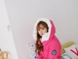 冬装中长款韩版大毛领羽绒棉 服外套棉衣