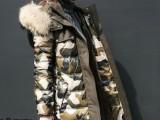 2013新款冬装迷彩羽绒服女中长款加厚大毛领羽绒f外套欧洲站正品
