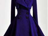 冬装新款蓝色紫纱裙大摆魅惑羊毛呢外套大衣 女 6003