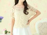 短袖蕾丝衫 夏季新款薄款宽松大码圆领镂空钩花套头针织衫罩衫