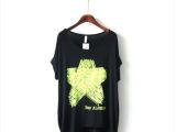 印染字母五角星t恤 2014夏新款韩版莹光色宽松圆领短袖t恤 莫