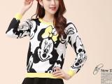 2015夏上衣新款韩版女式毛衣外套米奇图案卡通长袖套头短款针织衫