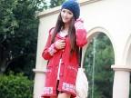 2014新品秋季新款韩版修身长款手套毛衣外套开衫 4色 红色