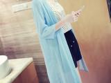 韩版女装2014夏装新款纯色宽松七分袖薄雪纺开衫长款B638夏季