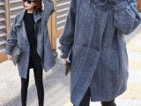 原单韩版时尚立领女式外套 加厚直筒型格纹长款羊毛呢风衣批发