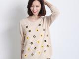 允秋2014新品 韩版时尚清新花朵针织打底羊毛衫 批发
