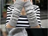 日韩爆款 三角菱形针织毛线长手套半指手套
