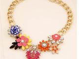 欧美时尚夸张金属高端奢华璀璨花朵气质百搭女项链 外贸出口首饰