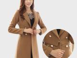 2014冬季韩版高端品牌女装 女士修身中长款驼色加厚外套 呢大衣