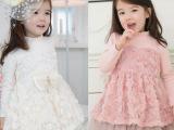 童装 冬装 长袖 加厚加绒 玫瑰花裙 女童连衣裙 韩版公主厂家直销