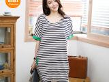 2015新款七季夏季新款t恤女 韩版条纹中长款女士t恤 大码女装
