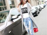 2015秋装新款韩版宽松开衫马甲贴布绣中长款针织马甲背心时尚女