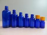 蓝色透明精油瓶 高档精油瓶 圆型精油透明玻璃瓶 蓝色精油瓶批发