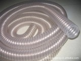 PU透明钢丝软管 通风排烟气 木工业机械抽吸灰尘污塑料橡胶38m