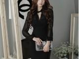2014新品韩版女装品质深V领透视性感紧身连衣裙包臀短裙